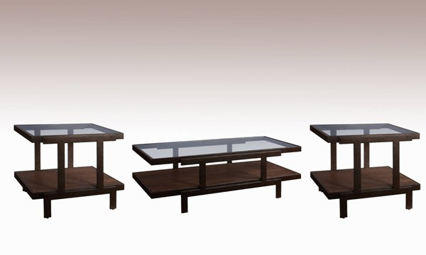 Beasley Contemporary Antique Bronze Wood Glass Coffee Table Set BMC-2875-CT