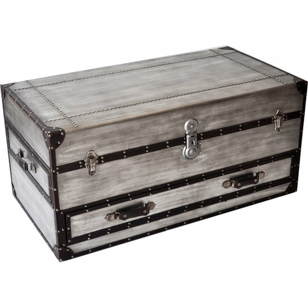 Bassett Mirror Faux Leather Aeroway Rectangle Trunk Casters Cocktail BMC-2888-100CEC