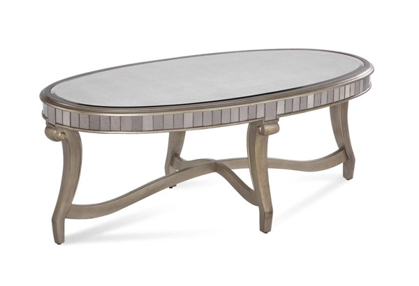 Celine Silver Wood Glass Oval Cocktail Table BMC-2900-140EC