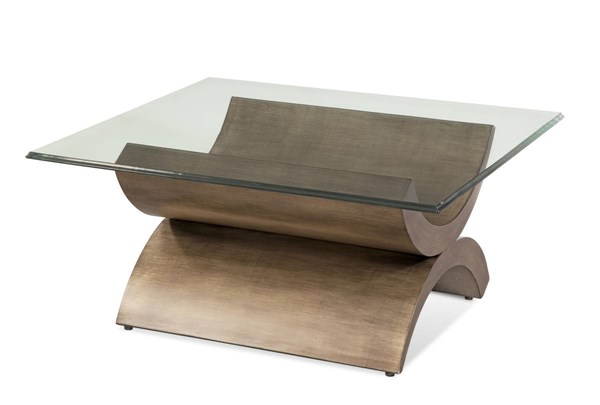 Symmetry Brushed Bronze Wood Glass Square Cocktail Table BMC-2914-130B-TEC