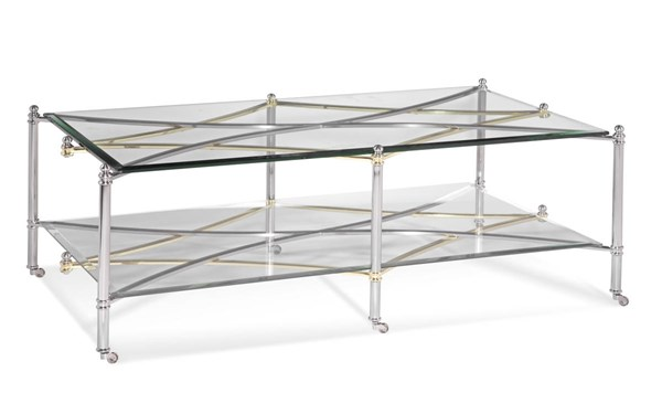 Dimensions Brushed Nickel Metal Glass Rectangle Cocktail Table BMC-2994-100EC