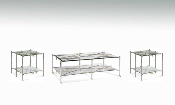 Dimensions Brushed Nickel Metal Glass 3pc Coffee Table Set BMC-2994-CT-S