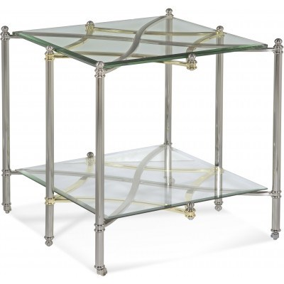 Dimensions Brushed Nickel Metal Glass Rectangle End Table BMC-2994-200EC