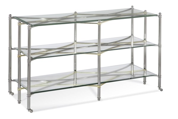 Dimensions Brushed Nickel Metal Glass Console BMC-2994-400EC