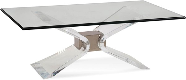Bassett Mirror Silven Brushed Nickel Rectangle Cocktail Table BMC-2999-100B-TEC