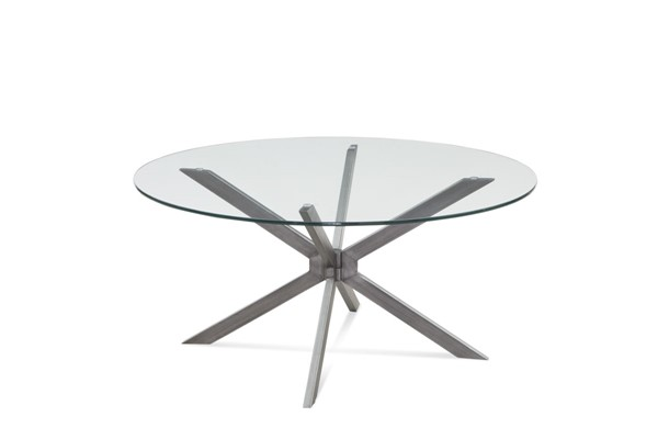 Bassett Mirror Deen Gunmetal Clear Glass Round Cocktail Table BMC-5510-120-491