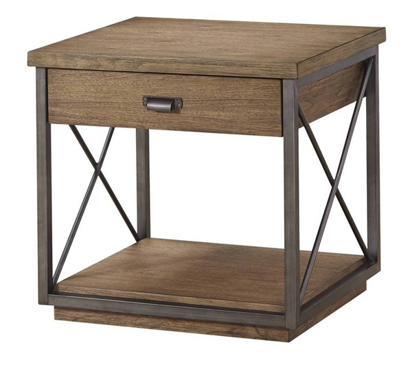 Bassett Mirror Austin Gray Pecan Rectangle End Table BMC-5660-LR-200