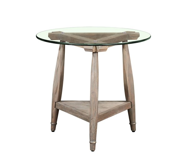 Bassett Mirror Cheyenne Gray Pine Round End Table BMC-5730-LR-220