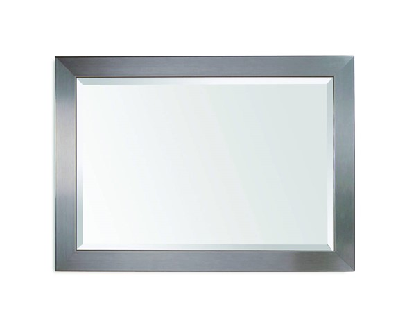 Stainless Contemporary Brushed Chrome Wood Wall Mirror BMC-63307-1814EC