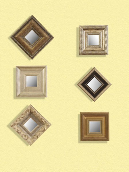 Wood Glass 6 Pack Assorted Square Mirrors BMC-6999-898EC