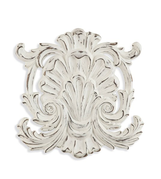 Rustic Antique White Wood Weathered Shell Wall Hanging BMC-7300-174EC