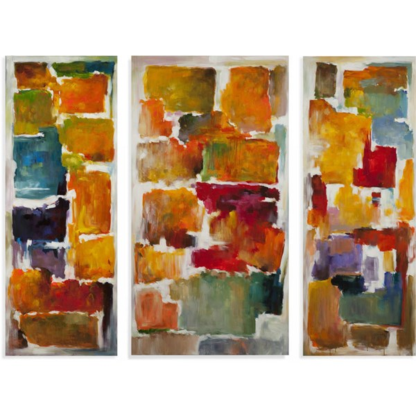 3 Modern Acrylic Canvas Colorful Blocks (L 92 X H 70) BMC-7300-192EC