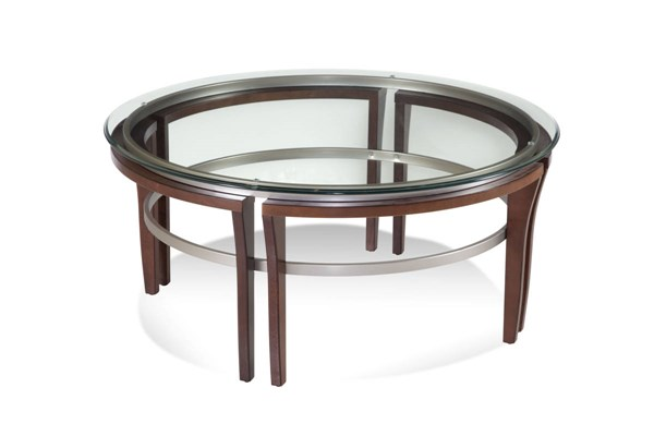 Fusion Cappuccino Wood Glass Round Cocktail Table BMC-8116-120-911EC