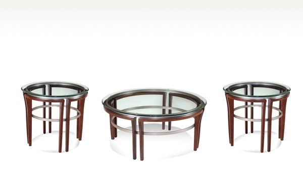 Fusion Wood Glass Cappuccino Coffee Table Set BMC-8116-CT