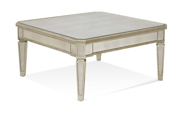 Bassett Mirror Borghese Hollywood Glam Silver Mirrored Square Cocktail Table BMC-8311-130EC