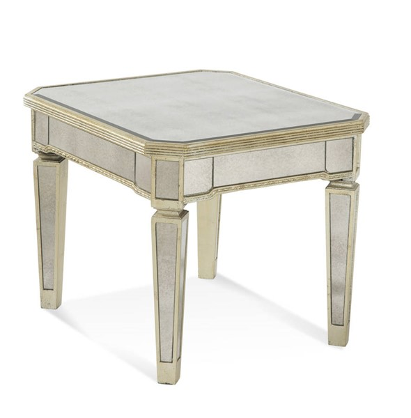 Borghese Hollywood Glam Silver Mirrored Rectangle End Table BMC-8311-200EC