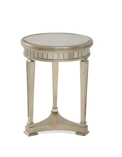 Borghese Hollywood Glam Silver Mirrored Round End Table BMC-8311-220EC