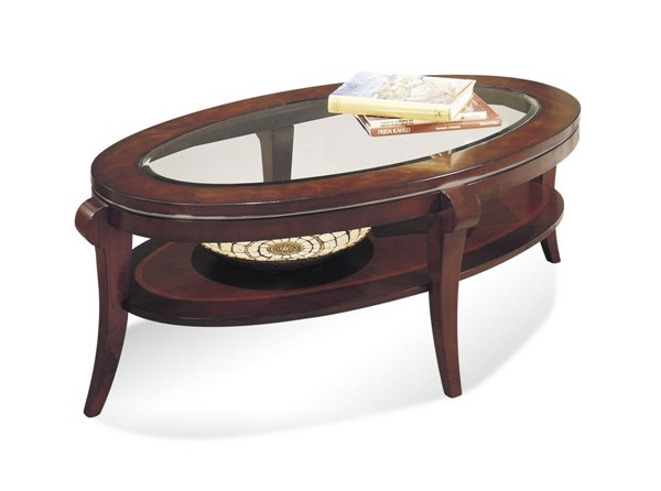 Ashland Heights Modern Cherry Wood Glass Oval Cocktail Table w/Glass BMC-8436-140EC