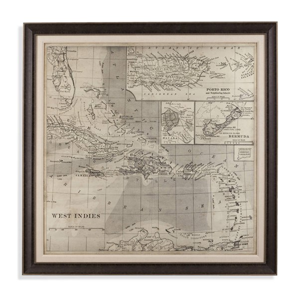 Resin Vintage Map Of Caribbean Square Wall Art BMC-9900-260EC