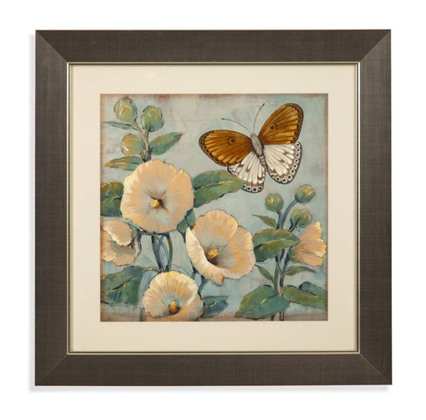Champagne Butterfly & Hollyhocks I Wall Art BMC-9900-265AEC