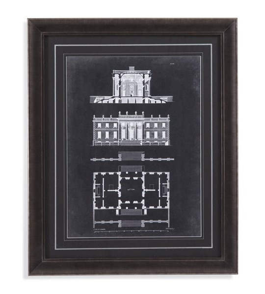 Charcoal Graphic Building IV Architectural Wall Art BMC-9900-266AEC