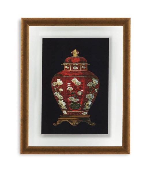 Traditional Gold Red Porcelain Vase I Abstract Wall Art BMC-9900-298AEC
