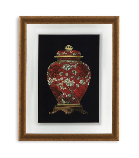 Traditional Gold Red Porcelain Vase II Abstract Wall Art BMC-9900-298BEC
