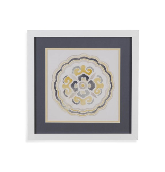 Bassett Mirror Yellow Grey Medallions II Wall Art BMC-9901-030BEC