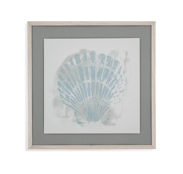Bassett Mirror Aqua Grey Seaside Block Prints I Wall Art BMC-9901-134AEC