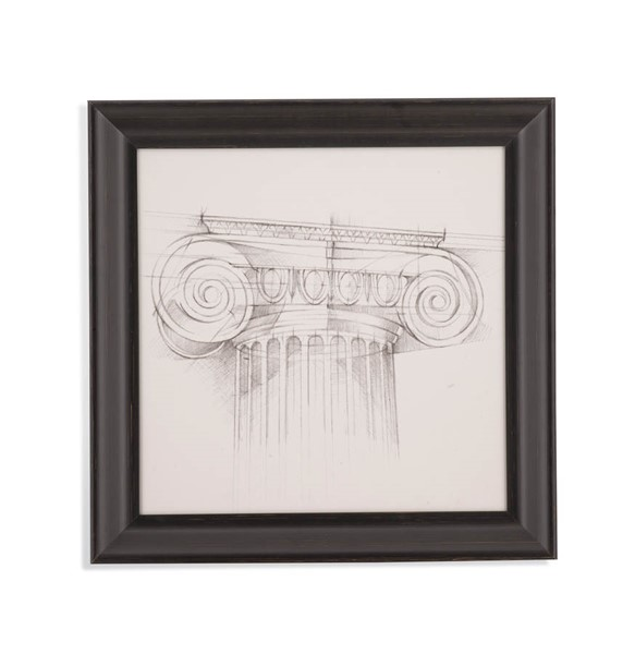 Bassett Mirror Distressed Black Column Schematic III Wall Art BMC-9901-187CEC