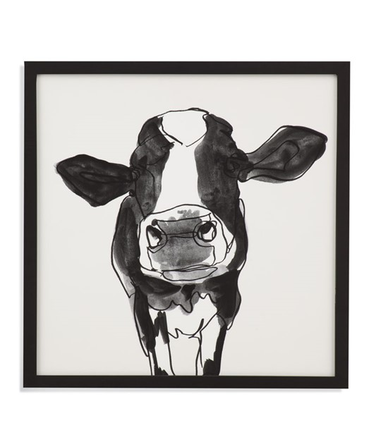 Bassett Mirror Cow Contour III Black White Wall Art BMC-9901-529C