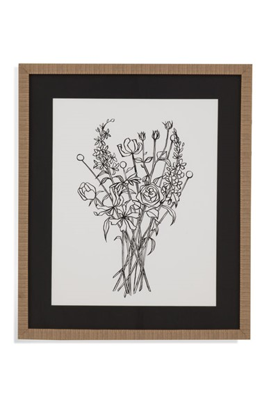 Bassett Mirror Black White Bouquet III Wall Art BMC-9901-535A