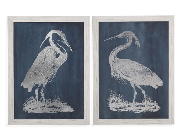 Bassett Mirror Heron Blue White 2pc Wall Art BMC-9901-582-000