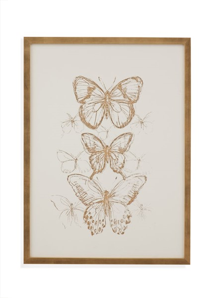 Bassett Mirror Butterfly Sketch I Gold Frame Wall Art BMC-9901-583A