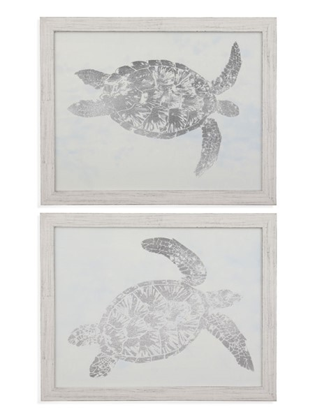 Bassett Mirror Sea Turtle Silver 2pc Wall Art BMC-9901-587-000