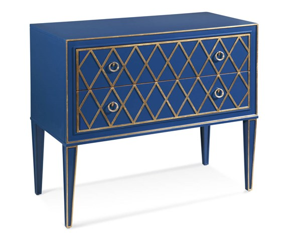 Selby Blue Gold Hollywood Glam Wood 2 Drawer Hall Chest BMC-A2285EC