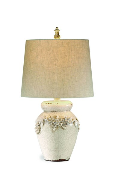 Bassett Mirror Eleanore Old World Ivory Crackle Drum Table Lamp BMC-L2321TEC