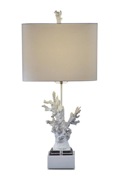 Gloss White Coral Glass Shade Drum Table Lamp BMC-L2667TEC
