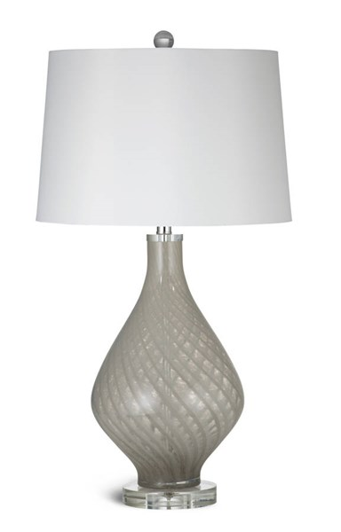 Clara Modern Beige Glass Fabric Table Lamp BMC-L2732TEC