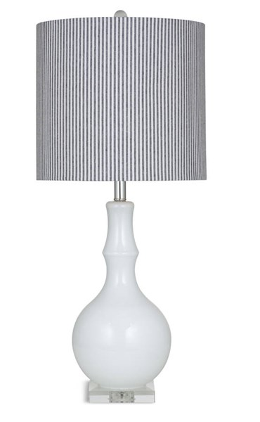 Dixon Off White Glass Shade Drum Table Lamp BMC-L2842TEC