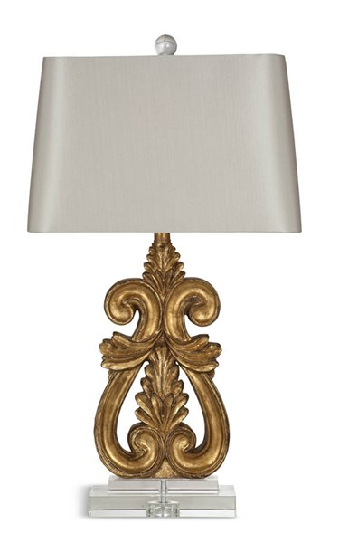 Annabel Gold Leaf Resin Table Lamp W/Glass Shade BMC-L2863TEC