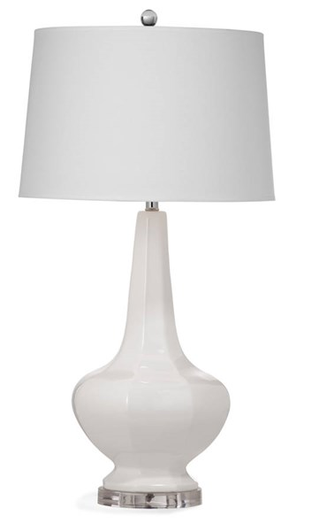 Bassett Mirror Conklin White Old World Ceramic Table Lamp BMC-L2956TEC