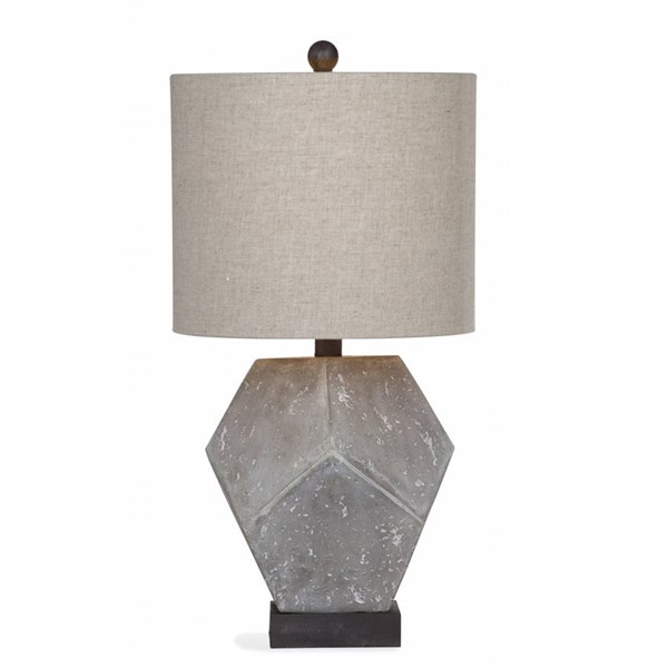 Bassett Mirror Wallace Modern Cement Resin Drum Table Lamp BMC-L2977TEC