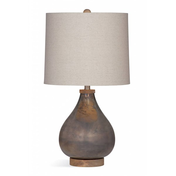 Bassett Mirror Paisley Modern Charcoal Drum Table Lamp BMC-L3155TEC