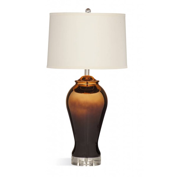 Bassett Mirror Sienna Modern Bronze Gold Glass Table Lamp BMC-L3212TEC