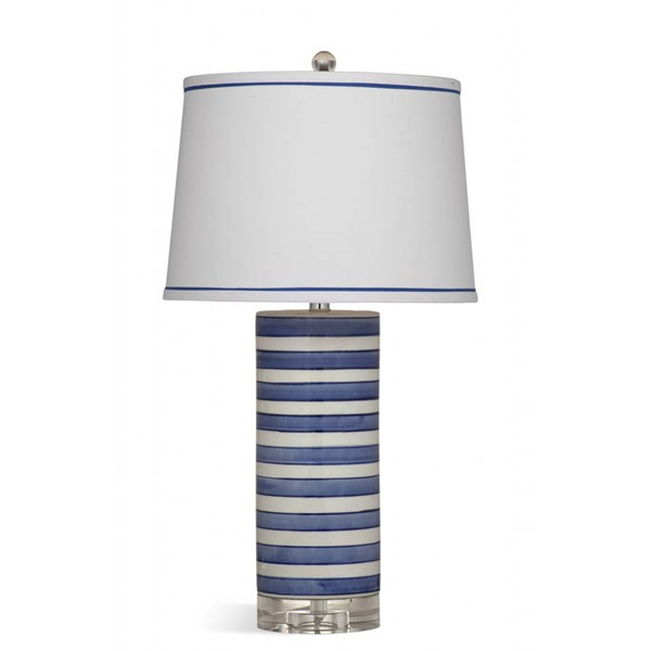 Bassett Mirror Regatta Blue White Stripe Ceramic Table Lamp BMC-L3236TEC
