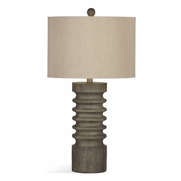 Bassett Mirror Langdon Rustic Gray Wash Resin Table Lamp BMC-L3249TEC