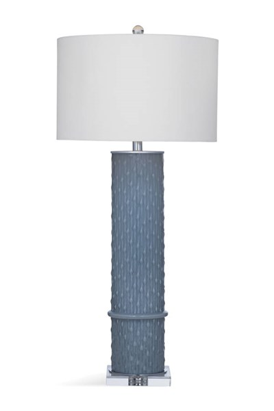 Bassett Mirror Aria Modern Gray Glass Drum Table Lamp BMC-L3279TEC