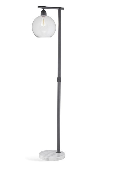 Bassett Mirror Hyde Modern Gray Metal Round Floor Lamp BMC-L3292FEC