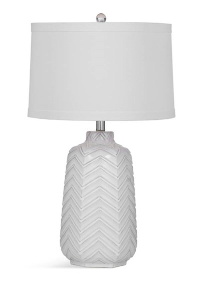 Bassett Mirror Dalia Modern White Ceramic Drum Table Lamp BMC-L3303TEC